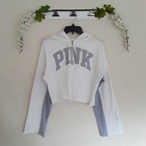 PINK Victoria's Secret Tops - PINK VS sz:M White Gray Crop Hoodie Zip Top